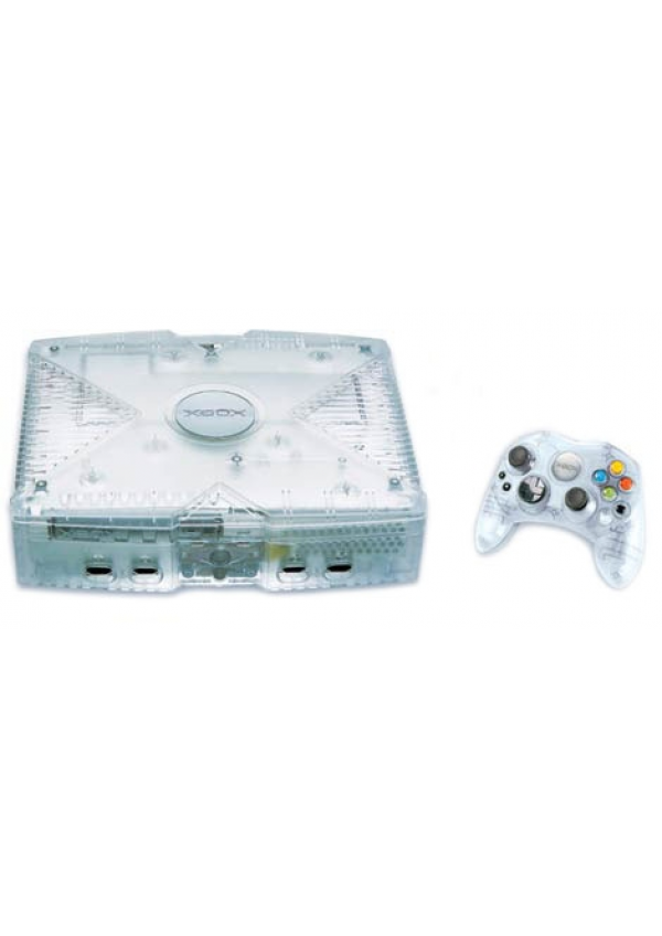 Console Xbox 1ere Generation Modele Crystal Avec Manette Crystal Transparente