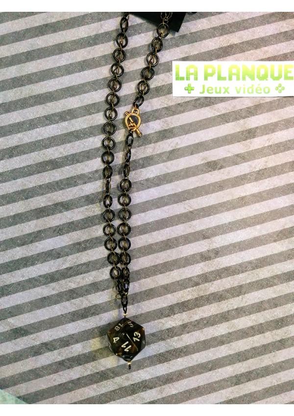Pendentif D20 Marbre Noir et Or