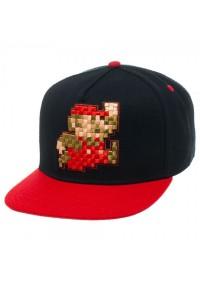Casquette Super Mario Rouge et Noir - Mario Pixellisé