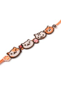 Bracelet Brodé Neko Atsume / Kitty Collector - Orange