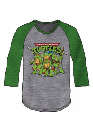 Chandail Manche 3/4 Gris et Vert (Baseball Tee) - TMNT Teenage Mutant Ninja Turtles