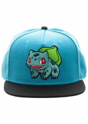 Casquette Snapback Pokémon - Bulbasaur Brodé Bleue