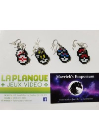 Boucles d'oreille Pokeball Pixels