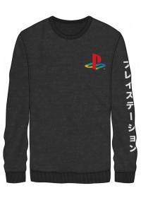 Chandail Manche Longue Gris Playstation - Kanji Sur Les Manches