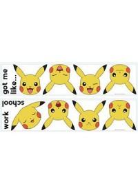 Ensemble de 12 Autocollants Mureaux Pokemon - Visages de Pikachu