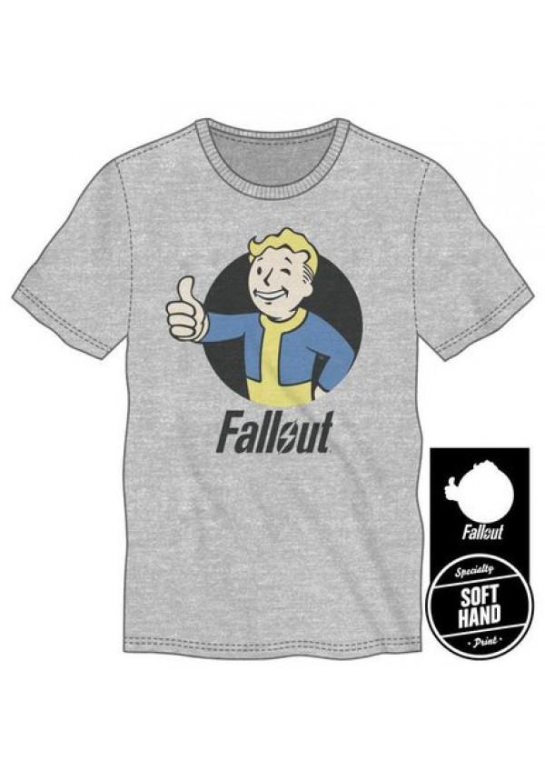 T-Shirt Fallout Vault Boy Thumbs Up Grey