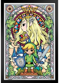 Affiche Encadrée The Legend of Zelda Wind Waker - Vitrail Zelda et Link