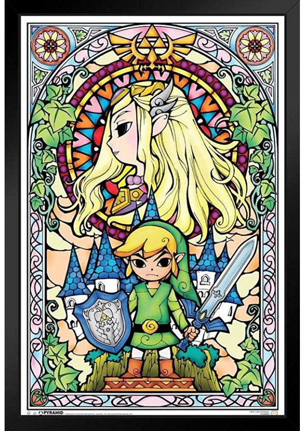 Affiche Encadrée The Legend of Zelda Wind Waker - Vitrail Zelda et Link