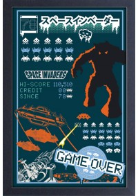Affiche Encadrée Space Invaders - Game Over 78 Bleu