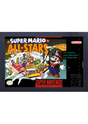 Affiche Encadrée Super Mario - Couverture Super Mario All Stars