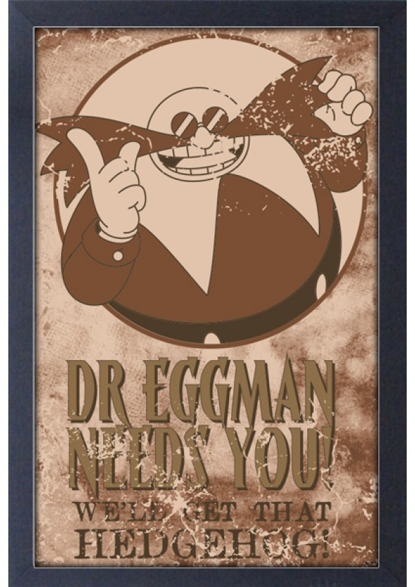 Affiche Encadrée Sonic The Hedgehog - Eggman Needs You