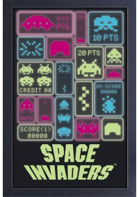 Affiche Encadrée Space Invaders - Collage Neon