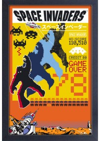 Affiche Encadrée Space Invaders - Game Over 78 Jaune